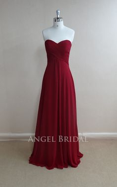 Simple Burgundy Chiffon Long bridesmaid dress, bridal Party dress, bridesmaid gowns, Long Bridesmaid Dress With Sweetheart Neckline