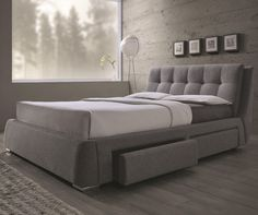 MODERN NEWCREST TUFTED GRAY FABRIC PLATFORM STORAGE DRAWERS QUEEN KING SIZE BED #Coaster
