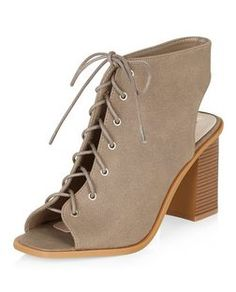 Wide Fit Light Brown Lace Up Peep Toe Block Heel Ankle Boots  | New Look