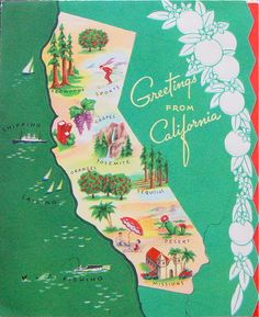Greetings from California  - vintage card  (coastal Christmas, retro, beach, holidays)