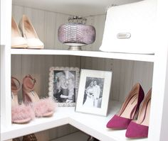 Take advantage of corner space in your closet and put your favorite shoes and accessories on display!