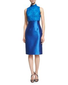TC8UU ML Monique Lhuillier Sleeveless Mock-Neck Lace-Bodice Cocktail Dress