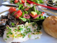 Pan Roasted Sea Bass, Portobello Mushrooms, fish, fish recipe, seafood, jittery…