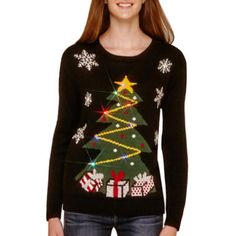 love by design long sleeve light up christmas sweater found at jcpenney - Jcpenney Christmas Sweaters
