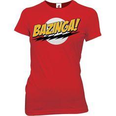 Big Bang Theory Bazinga! Juniors Girly T-Shirt, Small Red