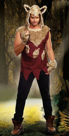 #9493 Tame your wild side in this men's two piece Bad Wolf costume that includes a red and black check jagged edge tunic with a faux fur hood with wolf ears and fingerless gloves. (Pants not included.