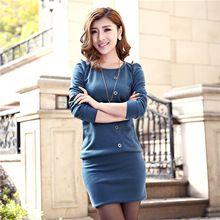 Moda inverno algodão em torno do pescoço de manga comprida vestido de malha OL fino pacote Hip vestido Casual Plus Size(China (Mainland))