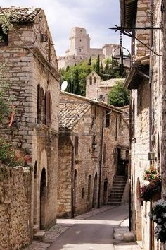 A medieval street in the old town of Assisi, Italy.
