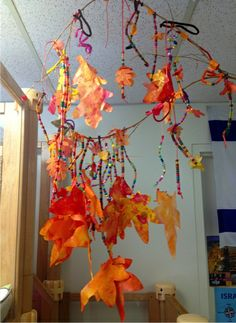 Fall Preschool Art Activities: Autumn Colors Watercolor Leaves And Bead Hanging Classroom Sculpture Mobile.