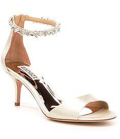 Badgley Mischka Geranium Satin Beaded Ankle Strap Dress Sandals #Dillards