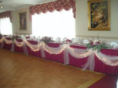 Bridal party table idea..love the draped tulle!