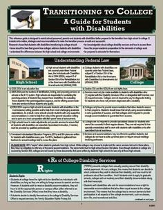 by Elizabeth C. Hamblet, one of the most respected authorities in the field of transitioning for students with disabilities, this laminated College Guide, College Planning, College Counseling, Education College, 504 Plan, Steps To Success, Special Education Teacher, Social Work, Disability