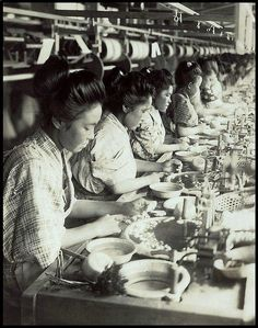SILK FACTORY GIRLS DRAWING THREAD FROM COCOONS in OLD JAPAN by Okinawa Soba, via Flickr. ca 1915-23.