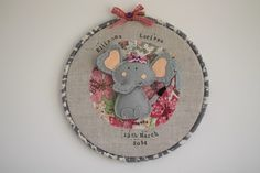 Personalised embroidery hoop nursery wall art - E is for Elephant - available at Sugar & Rhubarb Embroidery Hoop Nursery, Embroidery Hoop Art, Finding A Hobby, Wooden Hoop, Nursery Wall Art, Letterpress, Hand Stitching, Wool Felt, New Baby Products