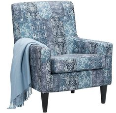 Simple Blue Patterned Accent Chair.