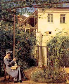 Viennese domestic garden. Erasmus Engert (1796-1871) Austrian artist.