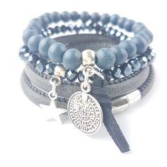 Armband blauw mix
