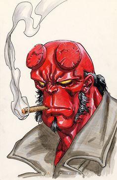 Hellboy by David Yardin Comic Book Artists, Comic Book Characters, New Artists, Desenho New School, Dungeons And Dragons Homebrew, Boy Art, Marvel Art, Dark Horse, Dark Art