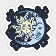 Sun and Moon - Sun And Moon - Sticker Band Stickers, Cool Stickers, Printable Stickers, Laptop Stickers, Moon Astrology, Homemade Stickers, Tumblr Stickers, Halloween Stickers, Journal Stickers