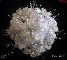 Lily Bridal Bouquet Wedding FRENCH BEADED FLOWERS Lilies Beads Crystal Silver