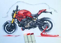 "1,660 curtidas, 18 comentários - berkay yazıcı (@berkayazc) no Instagram: ""#ducati #monster #monster1200 #bull #italianbike #motorcycledesign #sketch #sketchbook…"""