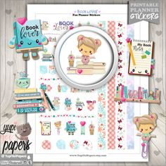 Book Stickers, Planner Stickers, Kawaii Stickers, Planner Accessories, Book Lover, Girl Reading, Read Stickers, Educational, Study