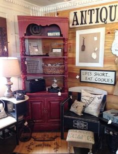 Cafe red Bookcase at The Shabby Cottage
