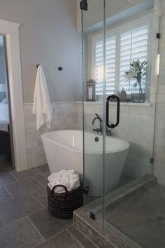Master bathroom remodel, shower, free standing bath tub, Calacatta marble tile   Interior designer: Carla Aston - Photographer: Tori Aston http://ToriAston.com #bathroomremodeling