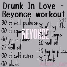 One Song Workout - Drunk In Love by Beyoncé Aww snap. One Song Workouts, Workout Songs, At Home Workouts, Fitness Workouts, Song Workout Challenge, Dance Workouts, Quick Workouts, Workout Schedule, Workout Plans