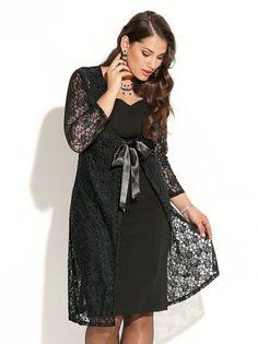 Conjunto de fiesta vestido de punto elástico y abrigo de encaje
