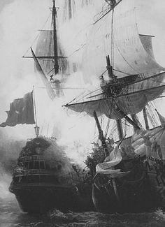 Tall ships in battle