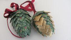 Paper Pinecone Christmas Ornament Styrofoam Egg Shape Beautiful
