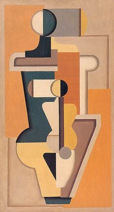 """Willi Baumeister """"A I orange-vert""""  1923 - Huile sur toile - 123 × 89 cm  Collection particulière  Catalogue raisonné Beye/Baumeister 301"""