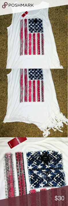 Flag Tank Adorable White Tank with American Flag!  Cute Fringe to Left Bottom of Tank! Sparkles to Blue part of Flag! Avenue Tops Tank Tops