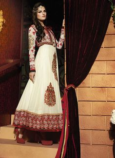 Beige embroidered work designer suit