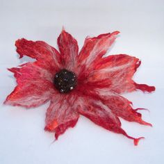 Sizzling Red Felted Flower Brooch