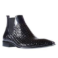 Jo Ghost Mens Shoes Inglese Nero x Intreccio Black Leather Boots (JG2203)
