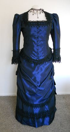 Victorian Day Dress in Cobalt Blue taffeta with by SallyCDesigns