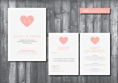 Wedding Invitation Suite - Digital Printable File - Heart Wedding Range - DIY Wedding. £45.00, via Etsy.