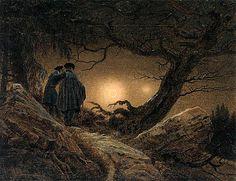 Dois homens contemplando a lua: 1819-1820