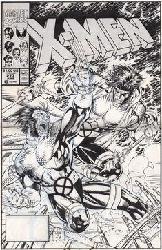 Capa de #JimLee, cheia de lâminas afiadas e ranger de dentes, para Uncanny X-Men #277 [que chegou às bancas americanas em 2/4/1991]. A arte-final, na capa e nas páginas internas [que também foram desenhadas por Lee] é de Scott Williams. O roteiro da história, Free Charley, é de Chris Claremont.