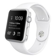 Apple Watch Sport – Caixa de 42 mm prateada de alumínio com pulseira desportiva branca