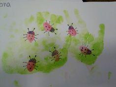 Ladybug hand and thumbprint Spring Toddlers Art