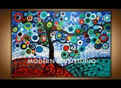 CANVAS WALL ART Modern Art Abstract Tree Painting Colorful Blooming Swirly Jeweled Tree, Large Original Whimsical Folk Art, Mosaic Landscape. $399.00, via Etsy. by anita