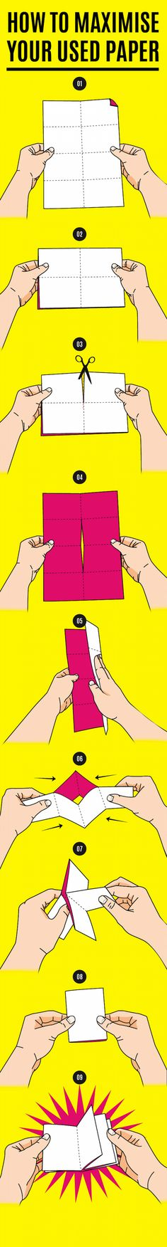 A ZINE? Make a mini notebook from any sheet of paper! Diy And Crafts, Paper Crafts, Summer Crafts, Diy Papier, Ideias Diy, Handmade Books, Origami Paper, Oragami, Origami Books