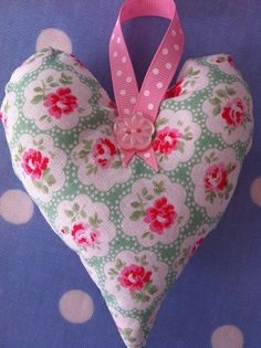Fabric hanging heart by patchwork and lace, via Flickr
