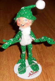 "Annalee Christmas Holiday 9"" Snowflake Elf Green  Posable 2007  750707 #Annalee #Dolls"