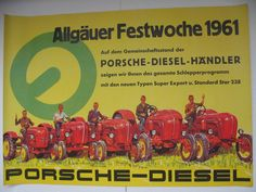 PORSCHE - DIESEL - Junior Standard Super Master - altes Orig Plakat 1961 60/84cm   eBay