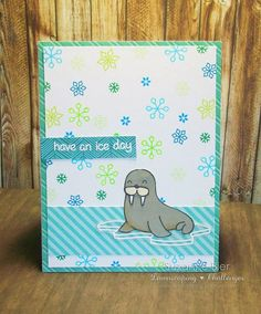 Lawn Fawn - Critters in the Arctic, Winter Penguin, Yeti Set Go, Let's Polka 6x6 paper, Sweater Weather 6x6 paper _ cute card by Suzanne Bier: Lawnscaping FIT December Blog Hop: Turquoise and Green!