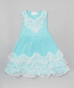 Another great find on #zulily! Aqua & White Pearl Tier Dress - Infant, Toddler & Girls #zulilyfinds